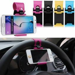 Car Steering Wheel Mount Phone Holder Cradle Bracket Stand Q