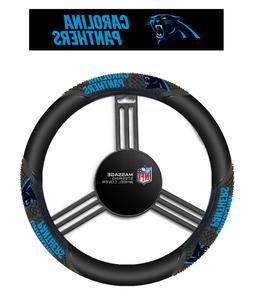 Carolina Panthers Black Vinyl Massage Grip Steering Wheel Co