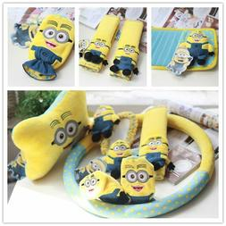 Cute Minions Interior Set Car Accessories Steering Wheel Cov