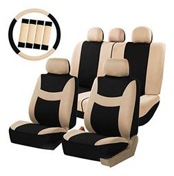 FH Group FB030BEIGEBLACK115-COMBO Seat Cover Combo Set with