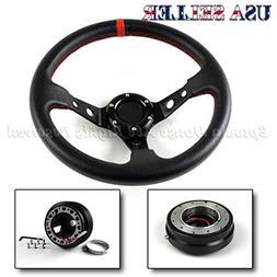 Fit 88-91 Honda Civic Usa Deep Dish Black/Red Steering Wheel