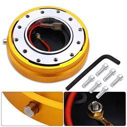AJP Distributors Gold Thin Slim Quick Release Steering Wheel
