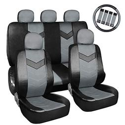 uxcell Gray Black Faux Leather Car Seat Cover Headrests Stee