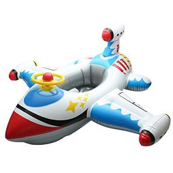 Fashionwu Inflatable White Plane with Steering Wheel, Childr