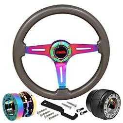 JDM Sport 345mm 6-Bolt Steering Wheel Gunmetal Wood + Hub Ad