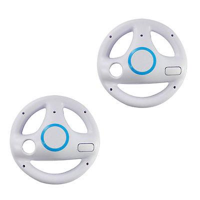 2* White Mario Kart Racing Steering Wheel for Nintendo Wii R