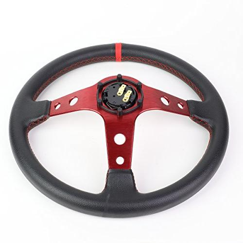 350mm Red 6-Bolt Spoke Red Stitched PVC Racing Steering