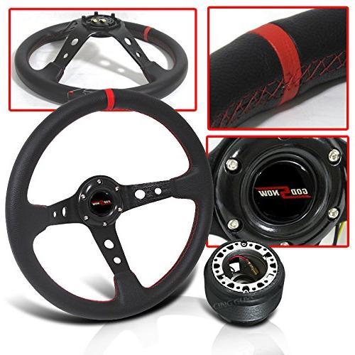 350mm steering wheel deep dish red stitch