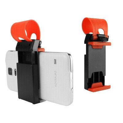 Black Red Car Steering Wheel Phone Holder Mount Grip Clip fo