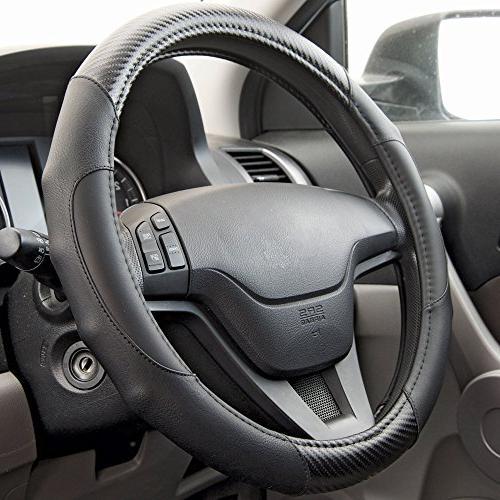 Motor Trend GripDrive Fiber Series - Steering Wheel Cover - Leather Comfort Grip