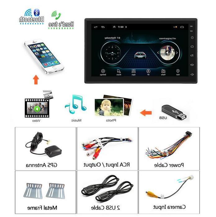 Podofo Android Car <font><b>radio</b></font> Multimedia Video Player Navigation din HD Universal auto Audio Bluetooth