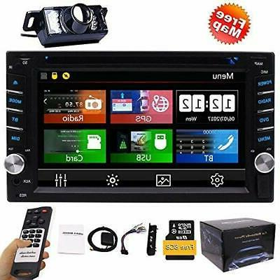 FREE Camera + Din Car Stereo Player GPS Bluetooth 2 Touch Screen SD SWC Logo Multi Language Remote