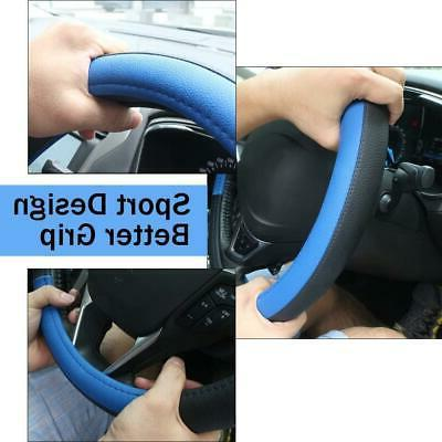 Black and Blue Microfiber Leather Auto Wheel Cover