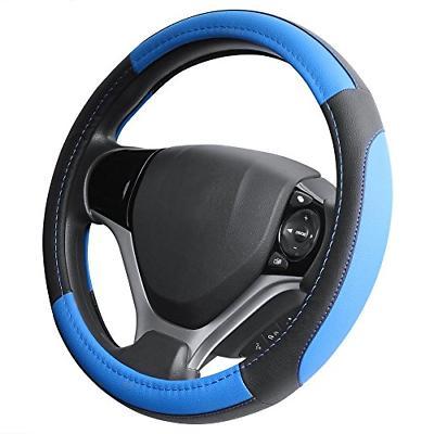 black and blue microfiber leather steering wheel