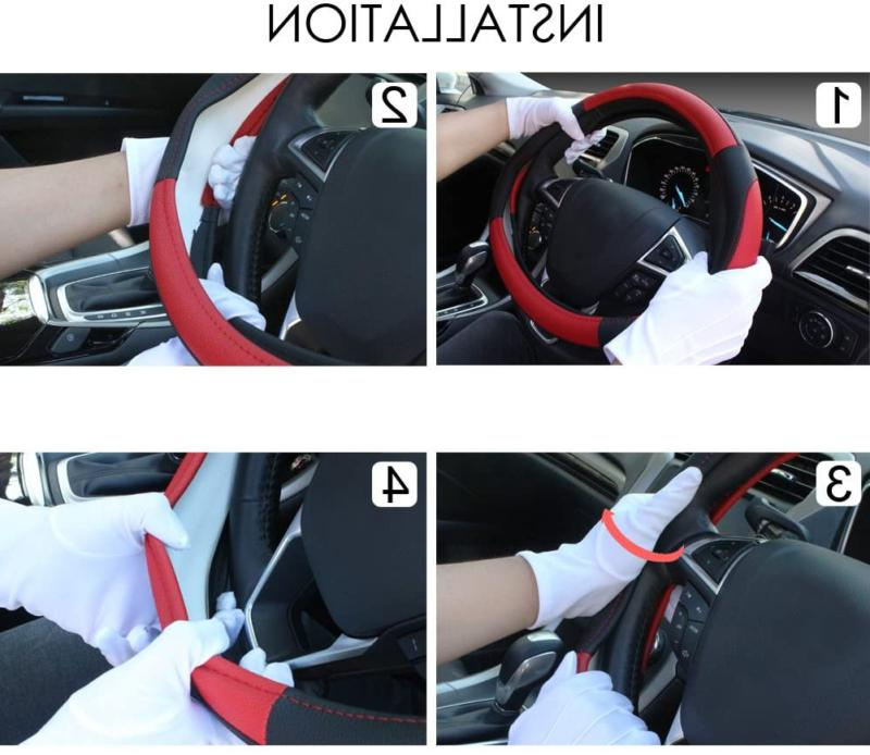 Seg Black And Red Microfiber Leather Auto Car Steering Univer
