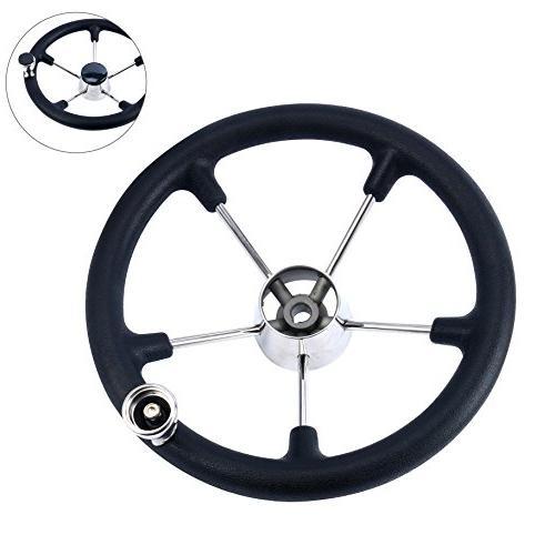 Marine Spoke Steering Wheel Black Foam Grip and