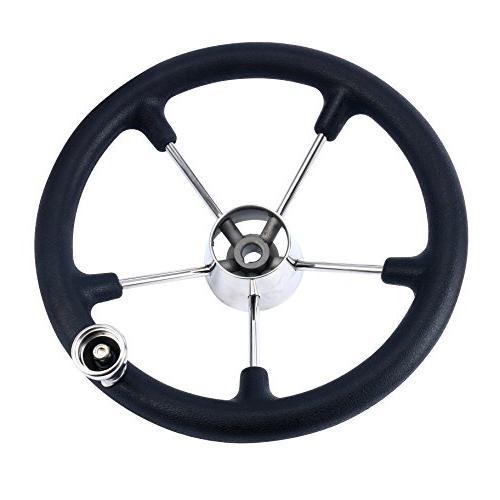 Amarine-made 13-1/2 Marine 5 Spoke Steering Wheel Black Foam Grip
