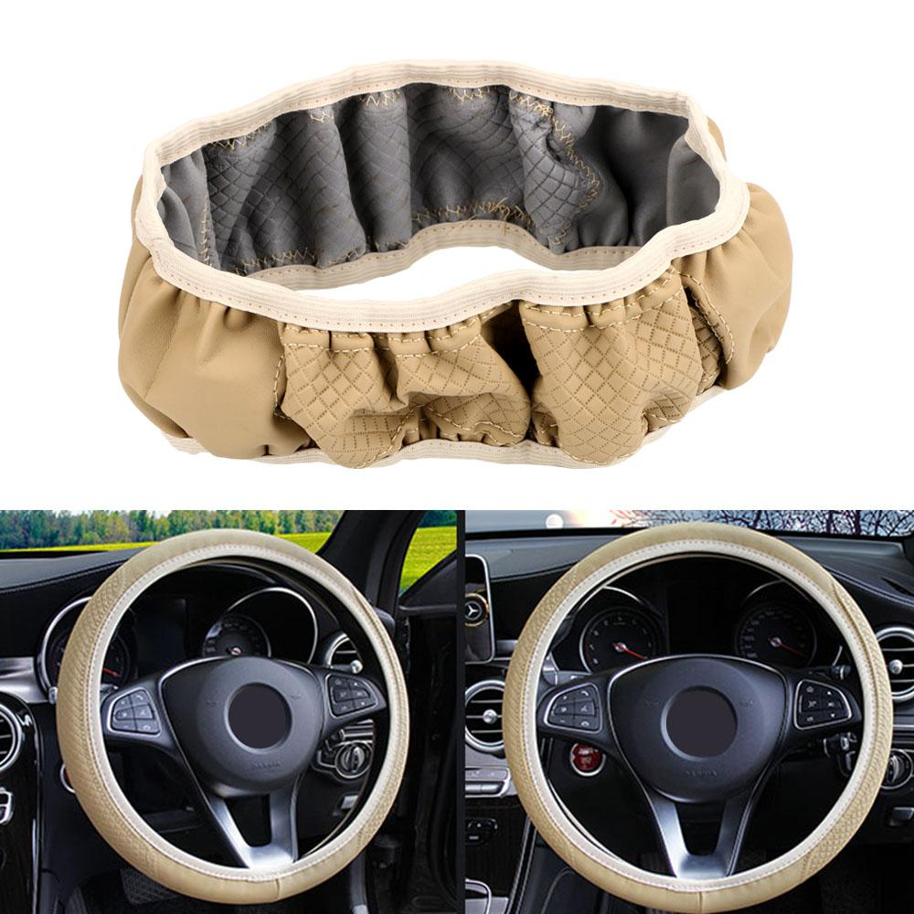 FORAUTO <font><b>Steering</b></font> <font><b>Wheel</b></font> Cover <font><b>Steering</b></font>- <font><b>wheel</b></font> Anti-Slip Embossing Leather Car-styling