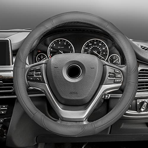 fh2002solidgray steering wheel cover deluxe full grain