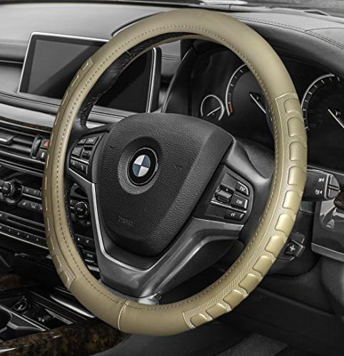 fh2006beige steering wheel cover microfiber embossed leather