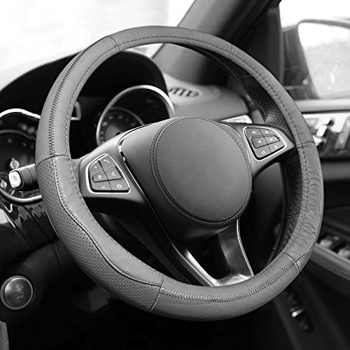 fh2007gray sleek and sporty genuine leather steering