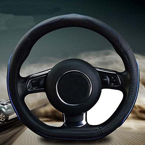 "Flat Bottom Steering Cover - D Cut Shaped Wheel Wrap 14.5"" - 15"""
