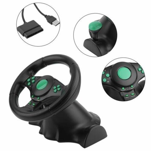 gaming vibration racing steering wheel and pedals