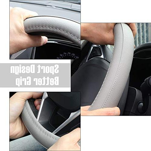 SEG Leather Auto Car Steering Wheel Cover Universal inch
