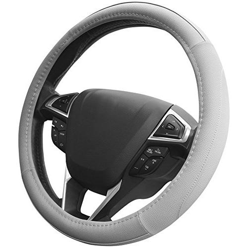 gray microfiber leather auto car steering wheel