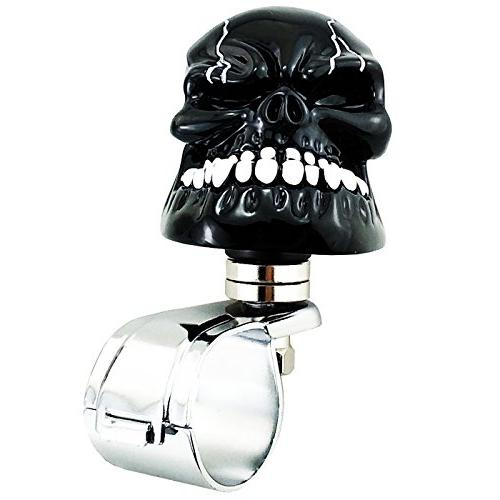 LUNSOM Cool Power Spinner Skull Steering Knob for Car Accessory Universal Black Wheel