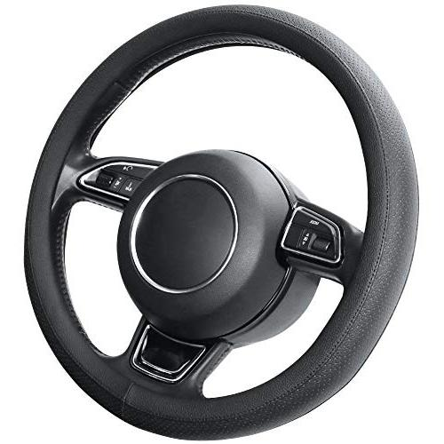 microfiber leather black steering wheel cover