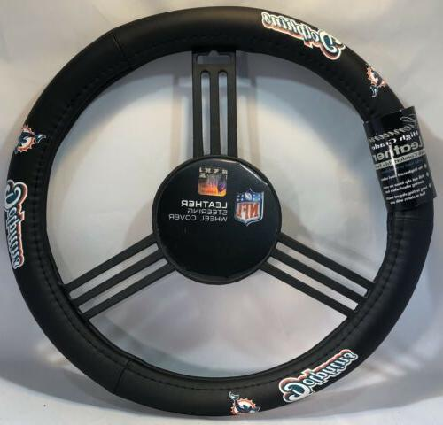 nfl leather steering wheel cover miami dolphins