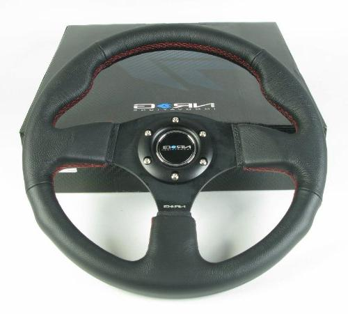 NRG Steering - 12 Black Leather/Black Spokes Red Stitching - #