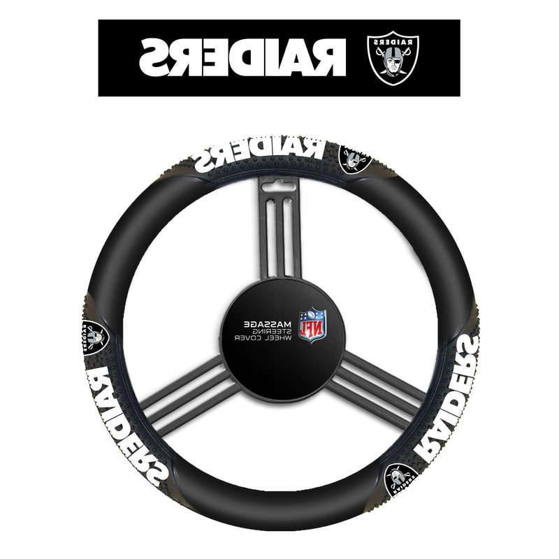 oakland raiders black vinyl massage