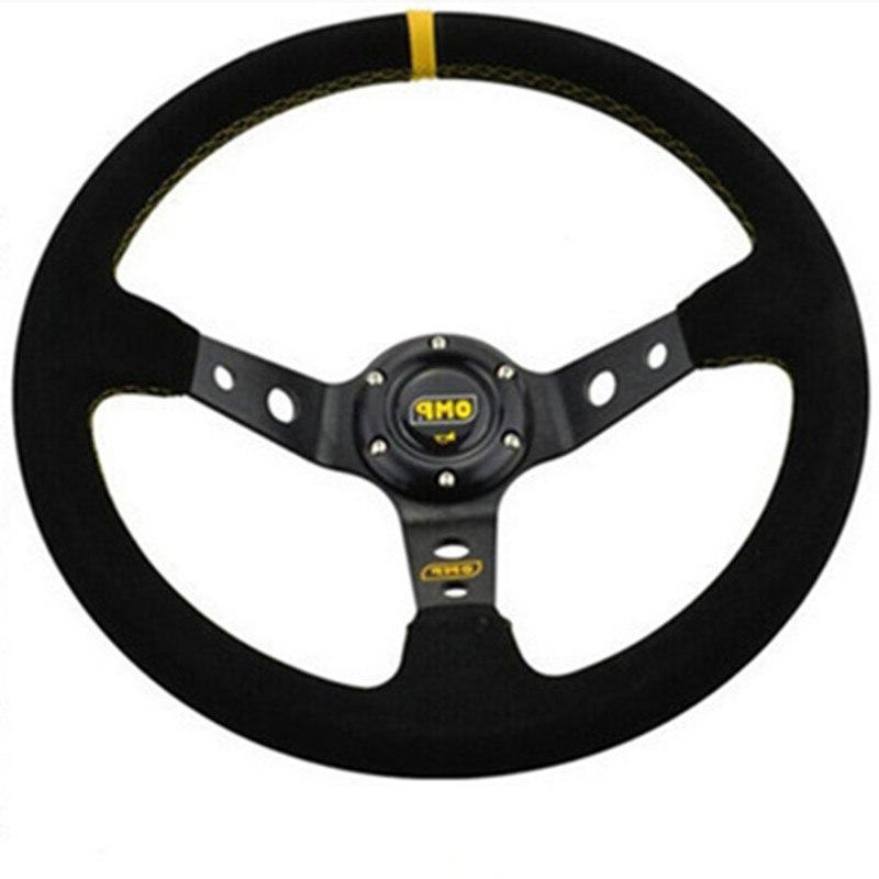 OMP car <font><b>wheel</b></font> racing type quality universal 14inches Aluminum+suede
