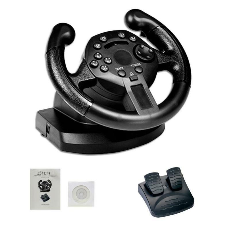 Racing Game Steering Wheel Driving W/ Brake Pedal For PC PS3
