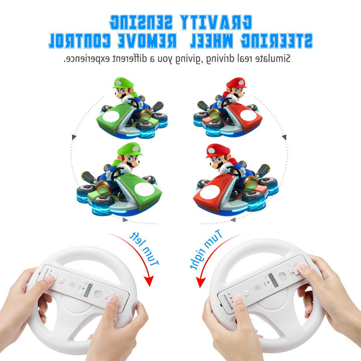 2Pc Game Racing Steering Wheel For Nintendo Wii Mario Kart R