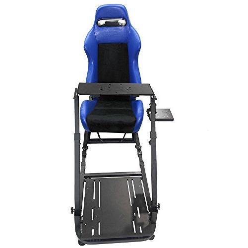Steering Wheel Stand For Logitech Thrustmaster W/Adjustable Blue PVC Leather Racing