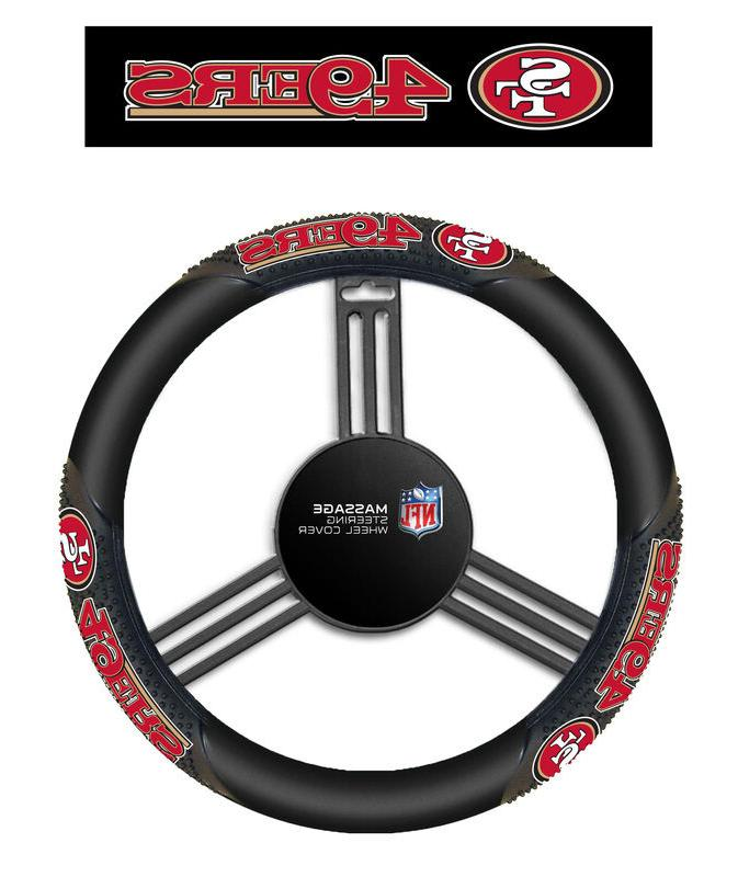 San Francisco 49ers Black Vinyl Massage Grip Steering Wheel