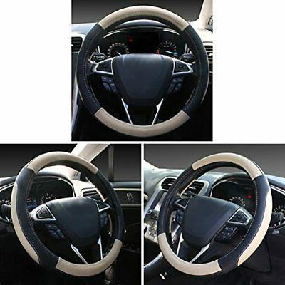 SEG And Beige Microfiber Car Steering 15