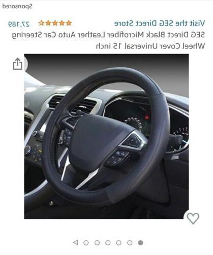 black microfiber leather auto car steering wheel