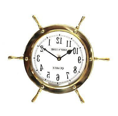 Ship Nautical Steering Wheel Clock Accurate Quartz in Solid
