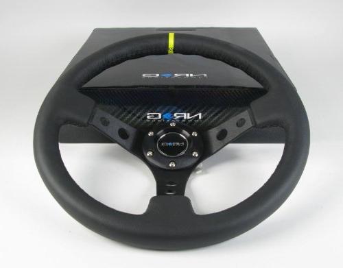 NRG Innovations, ST-006BK-Y, 350mm 3 Inches Wheel Black Leather Pointer ST-006BK-Y