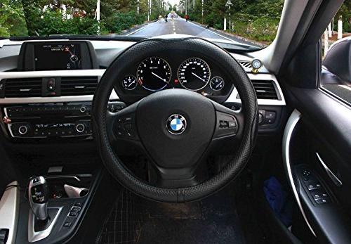 Valleycomfy Steering Wheel Universal 15 inch with Genuine Leather for Truck SUV