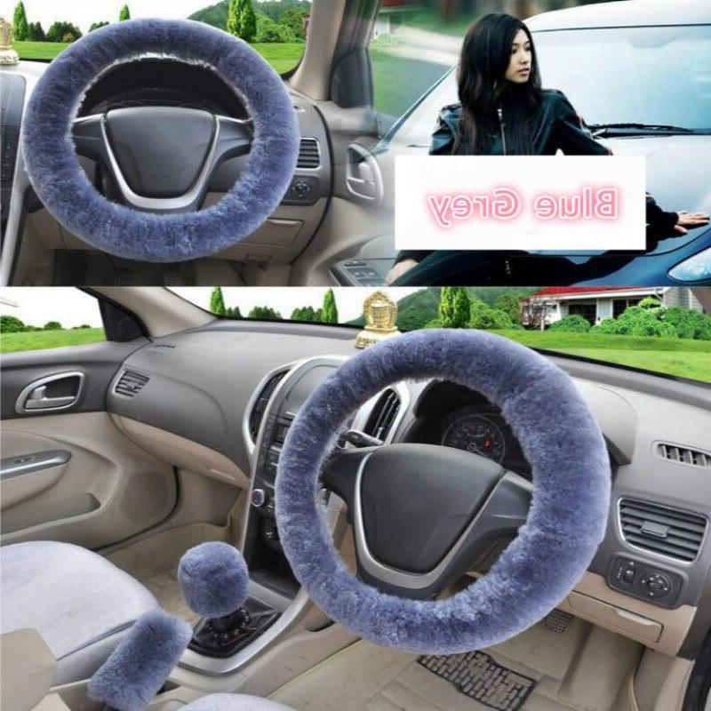 Universal Plush <font><b>Steering</b></font> Winter Faux Brake & Cover Car Interior