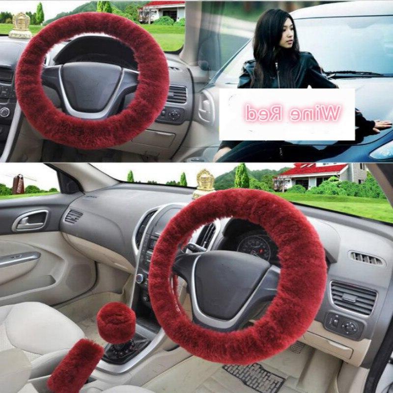 <font><b>Steering</b></font> <font><b>Wheel</b></font> Covers Winter Faux fur & Gear Car Interior Accessories