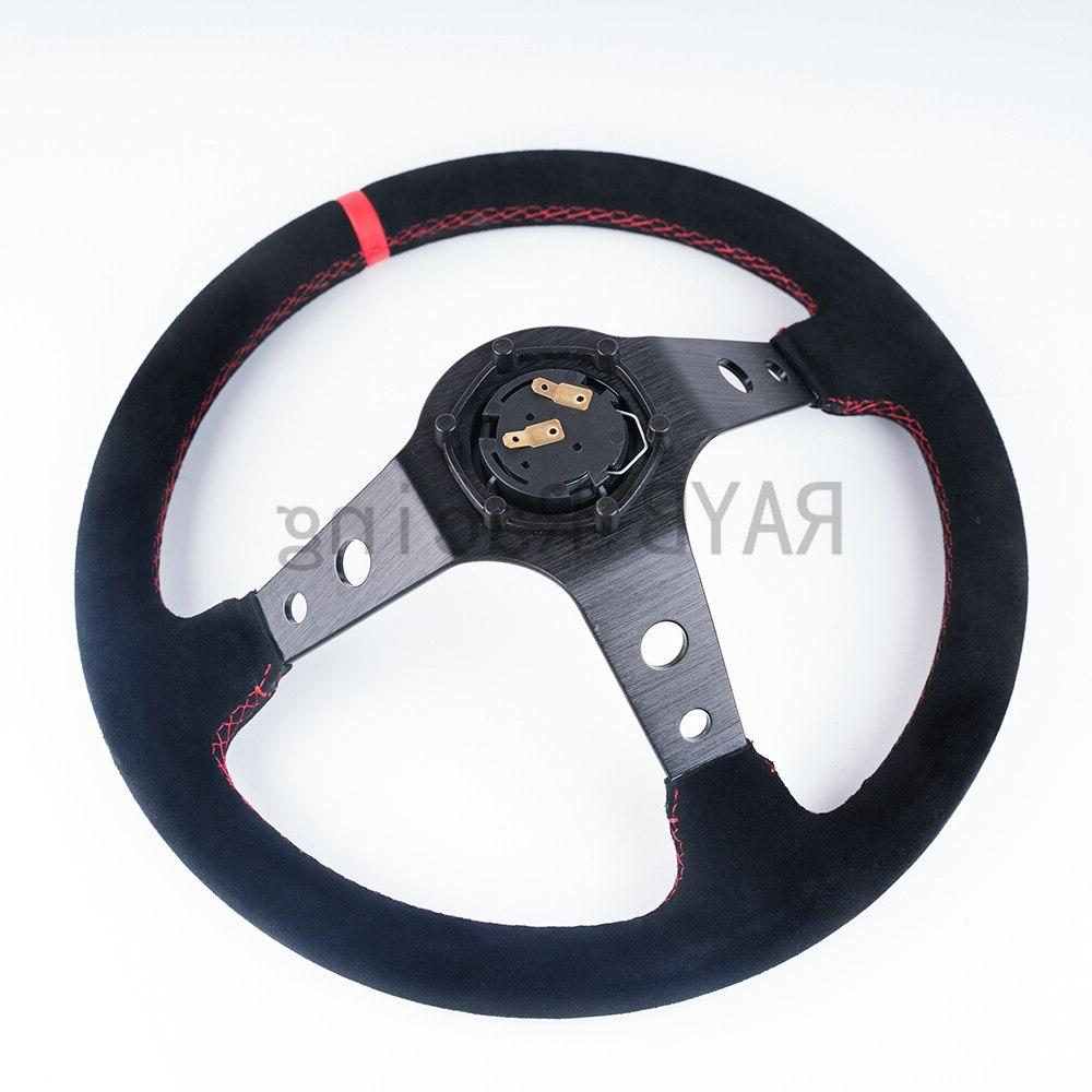 Universal 350mm <font><b>Steering</b></font> Deep Corn Drifting Sport <font><b>Wheel</b></font> With Logo