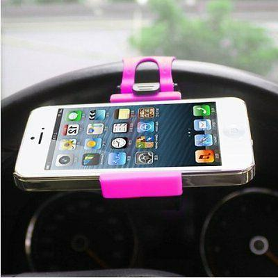 Universal Pink CAR MOUNT HOLSTER CLIP On Steering Wheel Cell