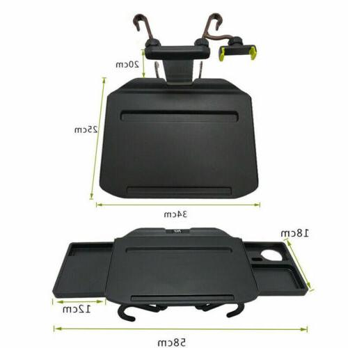 US Foldable Wheel Tray Table Laptop Desk Food Cup Holder