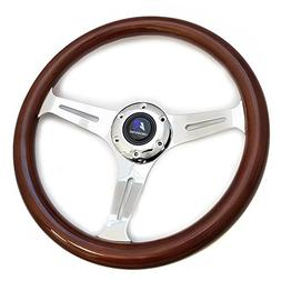 "LR Universal 14"" steering wheel with horn, 6 bolts 1.75"" Dis"